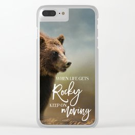 Grizzly On The Rocks Clear iPhone Case