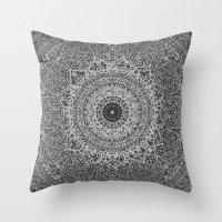 islam Throw Pillows featuring Ash Mandala by Mantra Mandala