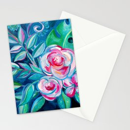 Tropical Camellia Extravaganza - oil on canvas Stationery Cards