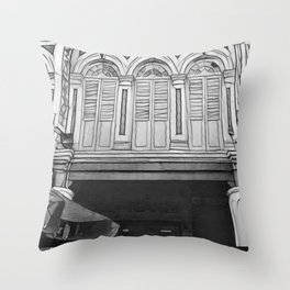 B&W Victorian Styled Shop Houses Throw Pillow