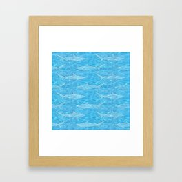 Pattern of sharks and blue water Framed Art Print