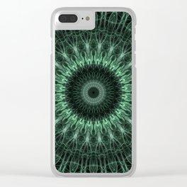 Graphic mandala in dark green tones Clear iPhone Case