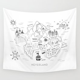 Neverland Map - B&W Wall Tapestry