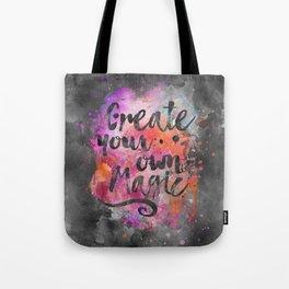 Create Magic handlettering colorful watercolor art Tote Bag