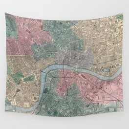 Vintage Map of London England (1865) Wall Tapestry