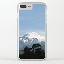 Snowy volcano Clear iPhone Case