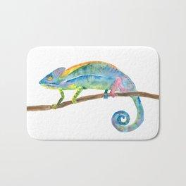 Watercolor chameleon Bath Mat