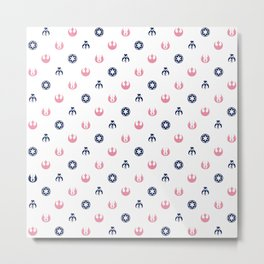 Galactic Pattern in White Pink and Blue Metal Print