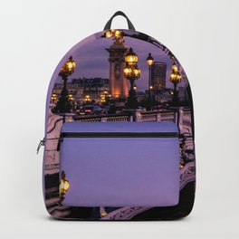 Sunset over Paris Bridge (Color) Backpack