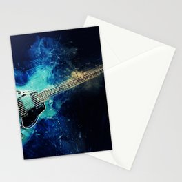 Electric Blue Guitar Stationery Cards
