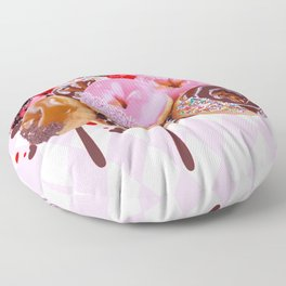 CHOCOLATE & PINK  STRAWBERRY GLAZED DONUTS ART Floor Pillow