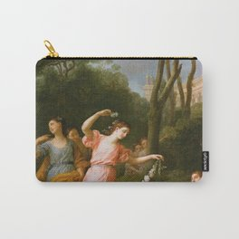 Joseph-Marie Vien - Young Greek Maidens Deck Sleeping Cupid with Flowers Carry-All Pouch