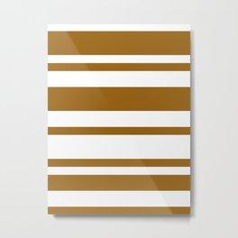 Mixed Horizontal Stripes - White and Golden Brown Metal Print