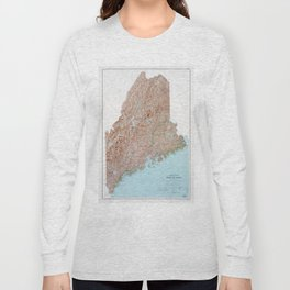 State of Maine Map (1977) Long Sleeve T-shirt