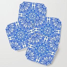 Cobalt Blue & China White Folk Art Pattern Coaster