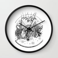 zentangle Wall Clocks featuring Zentangle by Alex Vladoiu
