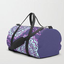 Neon Aqua Teal Purple Artsy Henna Boho Mandala Duffle Bag