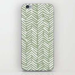 Boho Herringbone Pattern, Sage Green and White iPhone Skin