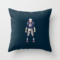 patriots Throw Pillows featuring Pats - Tom Brady by IllSports