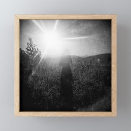 Sunlight, Shadows and Self-reflection in Black and White - Film Double Exposure Photograph Framed Mini Art Print
