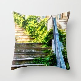 Urban Collection - Climbing Staircase in Town. Vintage Watercolor Painting Style. Throw Pillow