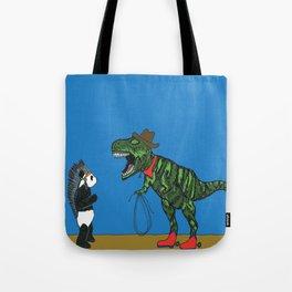 Dinosaur and panda play cowboys and Indians Tote Bag