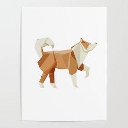 Origami Husky Poster