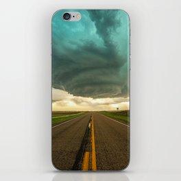 Road Trip - Twisting Storm Over Highway in Western Nebraska iPhone Skin