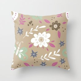 Flowers and butterflies In Brown Pattern Throw Pillow