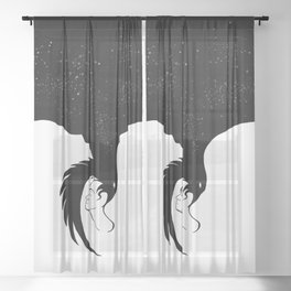 Space raven in the minds of men.  Negative space. Print. Sheer Curtain