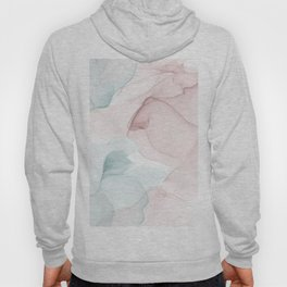 Blush and Blue Flowing Abstract Painting Hoody