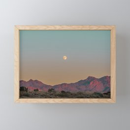 Sunset Moon Ridge // Grainy Red Mountain Range Desert Landscape Photography Yellow Fullmoon Blue Sky Framed Mini Art Print