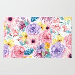 Modern elegant pink lavender yellow watercolor floral Rug