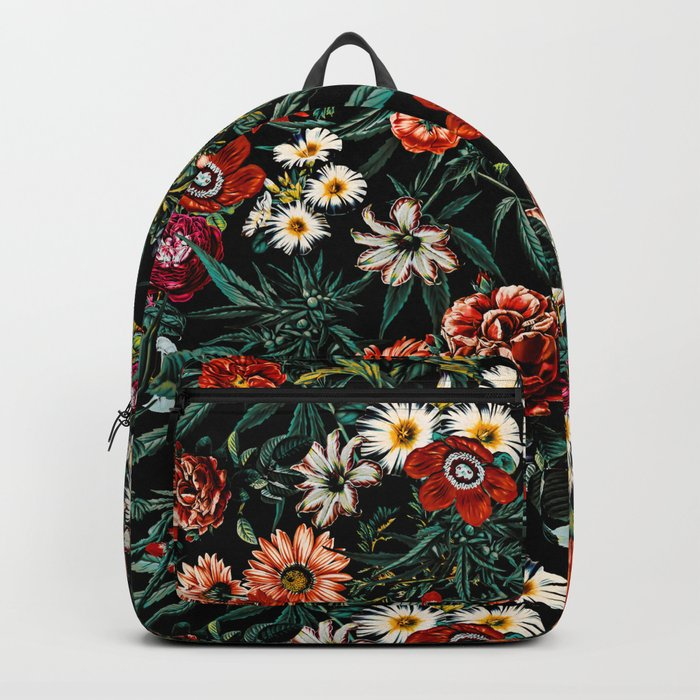 Marijuana and Floral Pattern Backpack