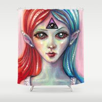 third eye Shower Curtains featuring Third Eye by Mary Nason (MiaSnow)