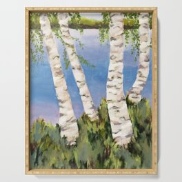 Four Birch on the Lake Serving Tray