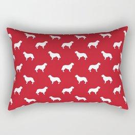 Golden Retriever dog silhouette red and white minimal basic dog lover pattern Rectangular Pillow