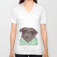 hawaiian V-neck T-shirts featuring Hawaiian Pug by Indi Maverick
