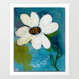 WHITE WHIMSICAL FLOWER Art Print