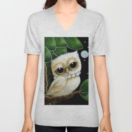 BLONDIE TINY OWL WITH PEARLS NECKLACE Unisex V-Neck