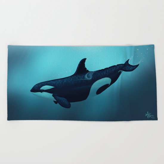 """Lost in Serenity"" by Amber Marine ~ Orca / Killer Whale Art, (c) 2015 Beach Towel"
