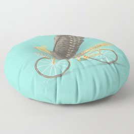 Cockatiel on a Bicycle Floor Pillow