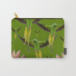 FLOCK OF GREEN FLYING FAIRY BIRDS  & PEACH FLOWERS ART Carry-All Pouch