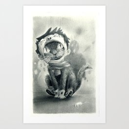 Cat with Boy Hat Art Print