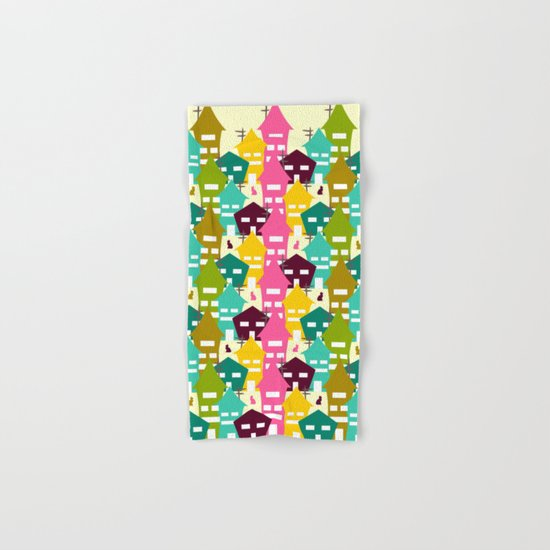 Colorful houses and cats Hand & Bath Towel