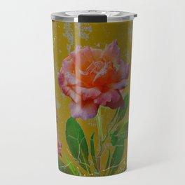 ANTIQUE AVOCADO COLOR  CORAL  PINK ROSES BOTANICAL ART Travel Mug