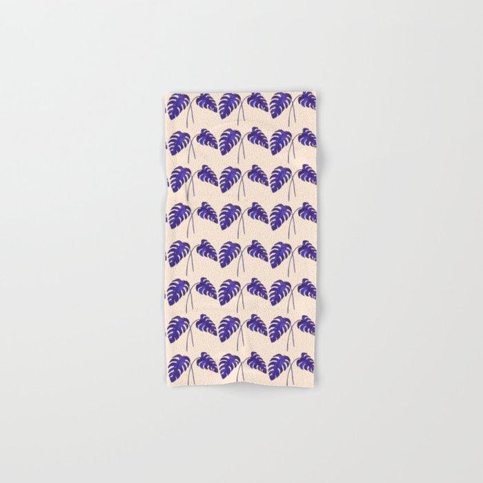 Indigo Monstera Leaf Watercolor on Blush Hand & Bath Towel
