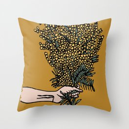 Handing Me Flowers Throw Pillow
