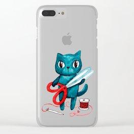 Sewing cat Clear iPhone Case