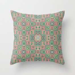 Green and Coral Summer Print Throw Pillow